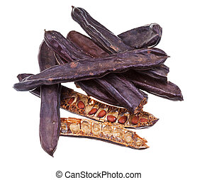 dried carob pods isolated on white background