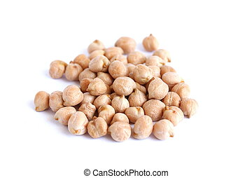 Dried Chickpeas On White Background