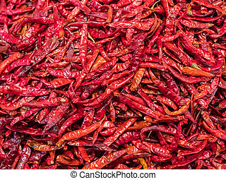 Dried chili peppers at a market