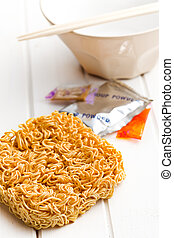 dried chinese noodles on white table