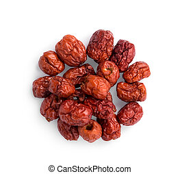 dried chinese red jujube isolated on white background, top view, flat lay
