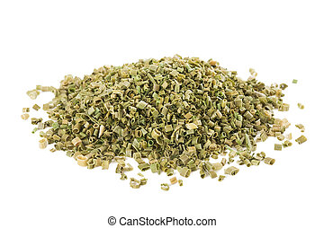 Dried chives chopped isolated on white background