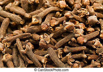 Dried cloves on a white background