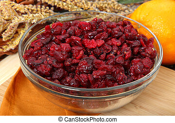 Dried Cranberries - Glass bowl of dried cranberries or...