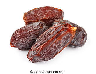 Dried dates on white close up