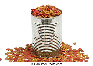 Dried dog food in metal can, pet food