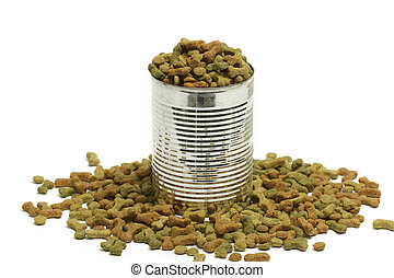 Dried dog food in metal can