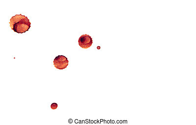 dried drops of blood on a white background