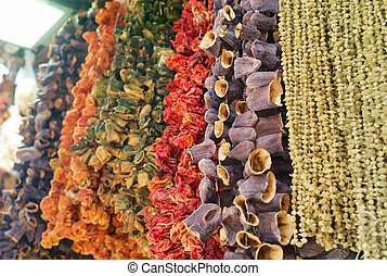 Dried Eggplants, Peppers, Tomatoes and Other Dried Vegetables Hanging on a String at the Egyptian Bazaar or Spice Bazaar in Istanbul, Turkey