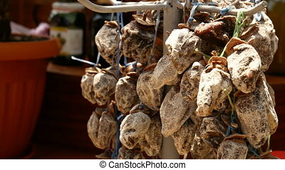 dried figs at market - Close-up of dried figs at market