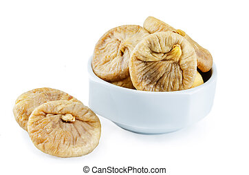 Dried Figs fruits in a bowl isolated. toning. selective...