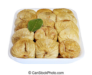 Dried figs in the box on a white background, isolated