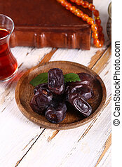 Dried figs on a plate for Ramadan
