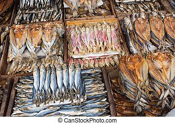 Dried fish at a market