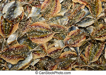 Dried fish in market for sale