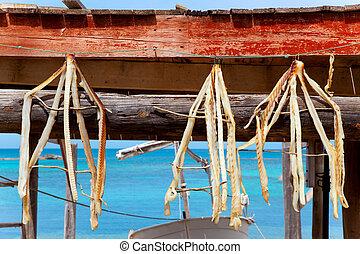 dried fish peix sec typical food in Mediterranean Balearic...