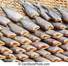 Dried fishs of local food at open market (Snakeskin gourami)