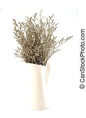 dried flower bouquet in metal vase isolated on white background