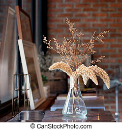 dried flowers decoration in living room