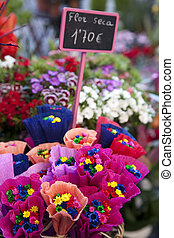 Dried Flowers for Sale on Market Stall