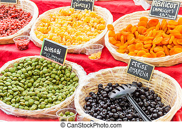 Dried food in a market