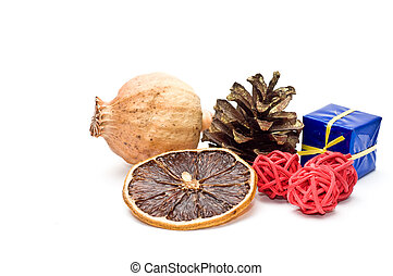 Dried fruit and christmas decoration
