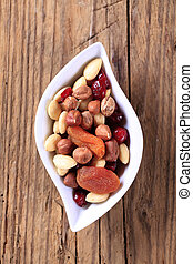 Dried fruit and nuts - Bowl of dried fruit and nuts -...