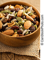 Dried fruit and nuts trail mix