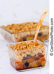 Dried fruit crumble - Dried fruit(apricots and raisins) ...
