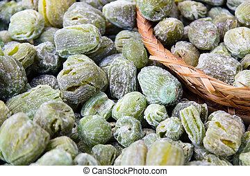 Dried fruit in market