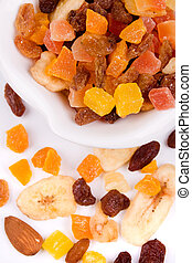 Dried fruit on white background - Dried fruit, healthyt...