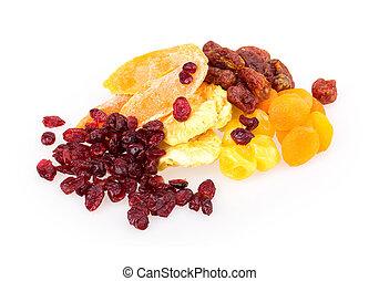 dried fruit pineapple, lemon, walnut, cranberry isolated on white background