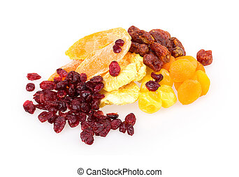 dried fruit pineapple, lemon, walnut, cranberry isolated on...