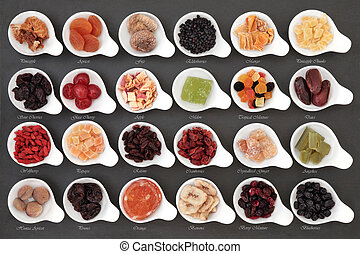 Dried Fruit Sampler - Large dried fruit selection in white...