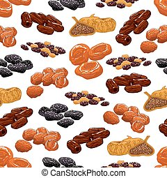 Dried fruit seamless pattern background with raisins, prune,...