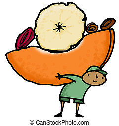 Dried Fruit - Whimsical illustration of child carrying dried...