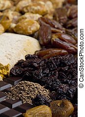dried fruit with chocolate and spice