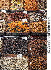 dried fruits and nuts stall la boqueria market barcelona spain