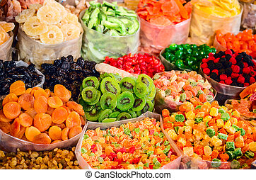 Dried fruits and sweets on the market in Georgia.