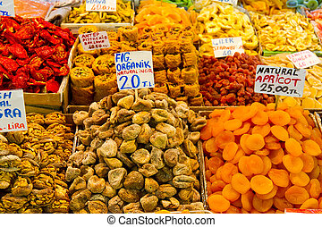 Dried fruits and Turkish Sweets in Spice Bazaar
