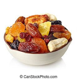 Dried fruits - Bowl of dried fruits isolated on white ...