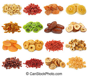 Dried fruits collection isolated on white