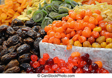 Dried Fruits - Dried fruits on display at a market