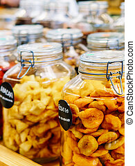 Dried Fruits In Glass Jars For Sale In Fruit Market