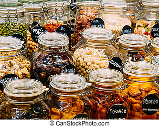 Dried Fruits In Glass Jars For Sale In Market