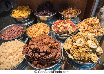 Dried fruits in the oriental market