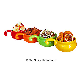 dried fruits on a white background