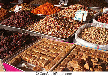 Dried fruits on display