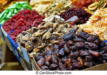 Dried fruits on display in food market in Tel Aviv, Israel....
