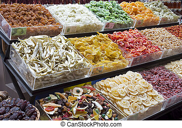 Dried fruits on display on a market
